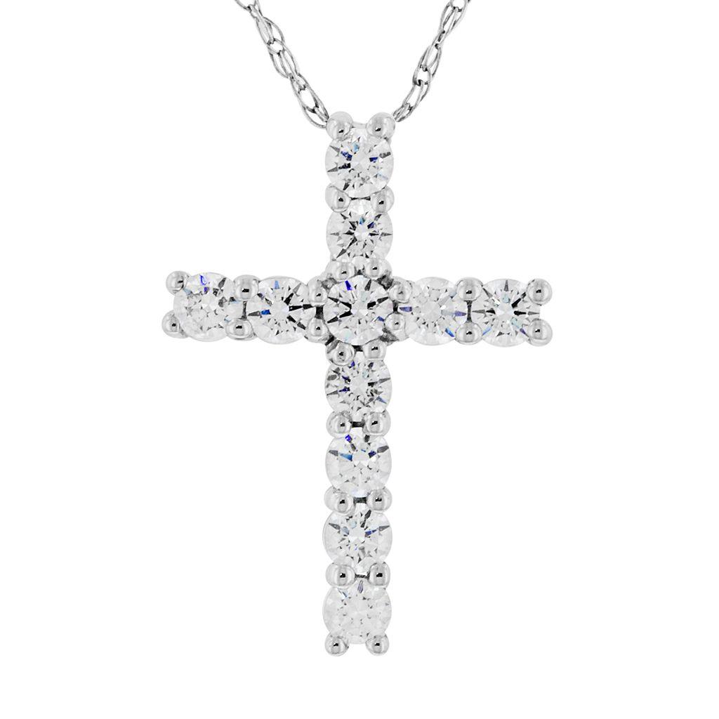 DiamonLuxe Sterling Silver 1/3-ct. T.W. Simulated Diamond Cross Pendant