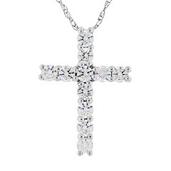 DiamonLuxe Sterling Silver 1/3 ctT.W. Simulated Diamond Cross Pendant