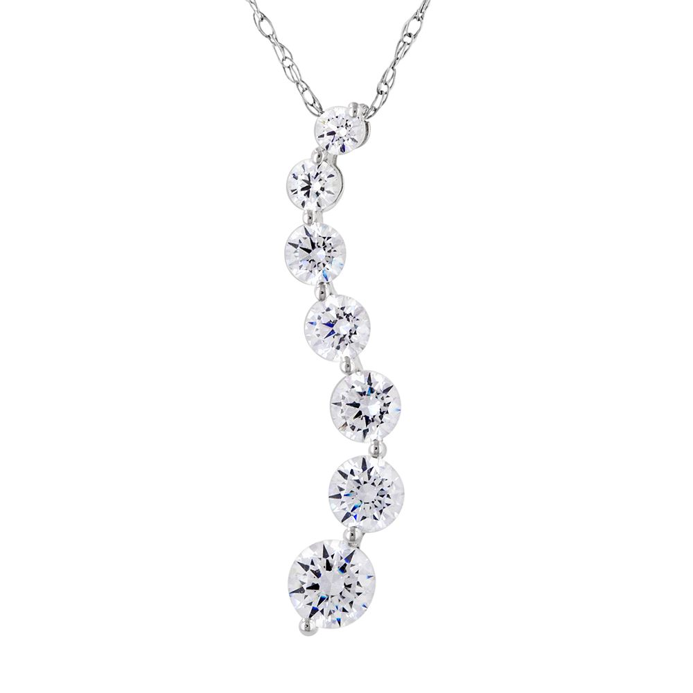 jewelers friedman diamond necklace s sterling simulated drop product graduated