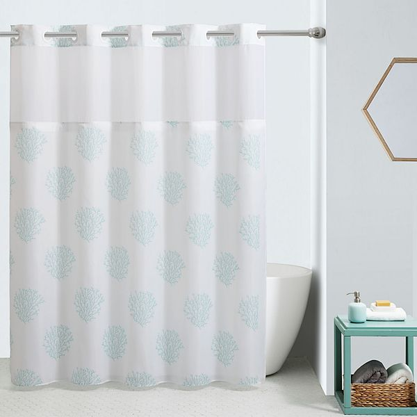 hookless ocean coral shower curtain and liner