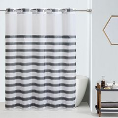 Hookless Farm House Stripe Shower Curtain and Liner