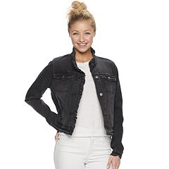 Juniors' Jou Jou Ruffle Collar Jean Jacket