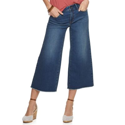 Women's Apt. 9® Raw Hem Wide-Leg High-Waisted Crop Jeans