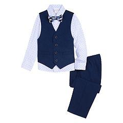 Toddler Boy Van Heusen 4 Pc Vest, Patterned Shirt, Pants & Bow Tie Set