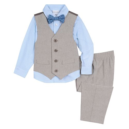 Toddler Boy Van Heusen 4 Pc Linen Vest, Shirt, Pants & Bow Tie Set
