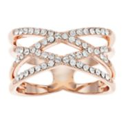 Brilliance Double X Ring with Swarovski Crystals