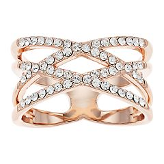 7eae7619d Brilliance Double X Ring with Swarovski Crystals