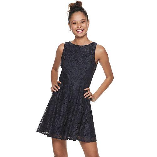 Speechless Womens Sleeveless Lace Dress