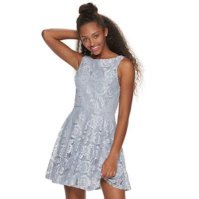 Juniors' Speechless Sleeveless Lace Skater Dress