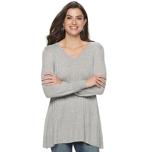 Women's Apt. 9® Sharkbite V-neck Tunic Sweater