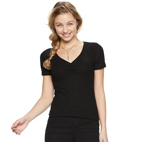 Juniors' Candie's® V-Neck Puff Sleeve Top