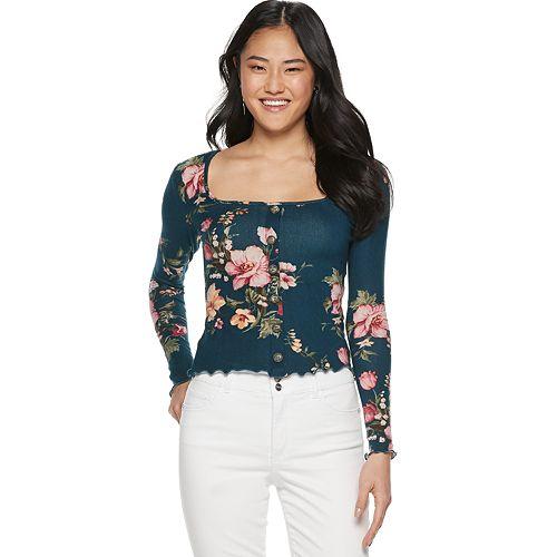 Juniors' Candie's® Long Sleeve Squareneck Floral Top