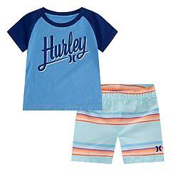 Baby Boy Hurley Raglan Top & Boardshorts Set