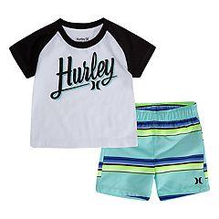 Baby Boy Hurley Rash Guard Top & Striped Boardshorts Set
