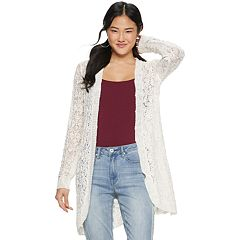 Juniors' American Rag Mix-Stitch Open Front Cardigan