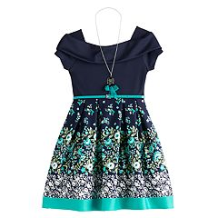 a801a4b36 Girls 7-16 Knitworks Floral Skater Dress & Necklace Set
