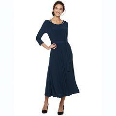 Women's Nina Leonard Embellished Solid Midi Dress