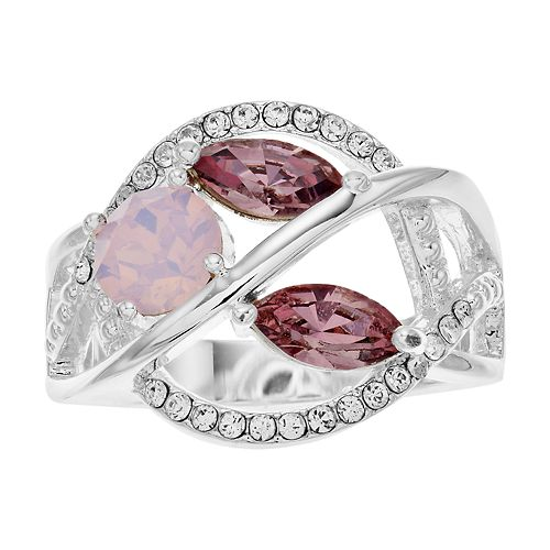 Brilliance Tri-Tone Cluster Ring with Swarovski Crystals