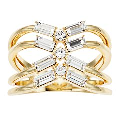 3a2c4024a Brilliance Baguette Open X-Shape Ring with Swarovski Crystals