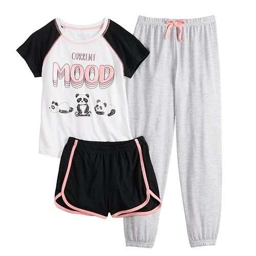 Girls 4-16 Saint Eve® Tee, Shorts & Pants Pajama Set