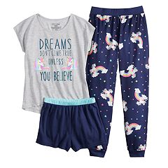 Girls 4-16 Saint Eve® Unicorns & Rainbows Dream Tee, Shorts & Pants Pajama Set