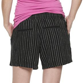 Maternity a:glow Linen-Blend Full Belly Panel Shorts