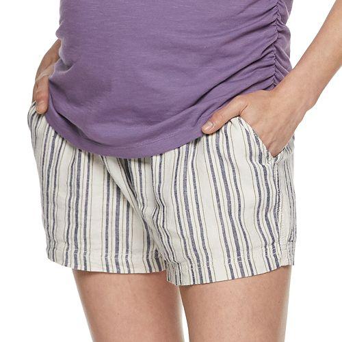 Maternity a:glow Linen-Blend Full Belly Panel Shorts
