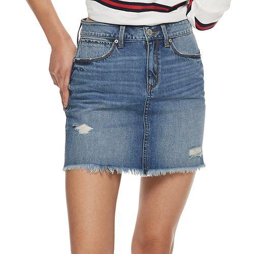 Juniors' Mudd® Deconstructed Denim Mini Skirt