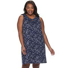 Plus Size Croft & Barrow® Pintuck Keyhole Nightgown