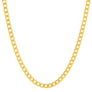 Men's 14k Gold Plated Curb Chain Necklace