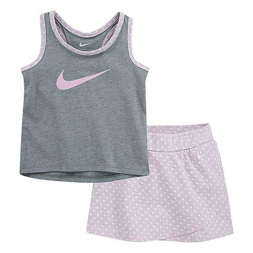 Baby Girl Nike Racerback Tank Top & Polka-Dot Skort Set