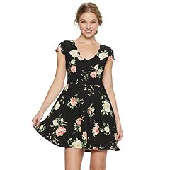 Juniors' Three Pink Hearts Floral Skater Dress