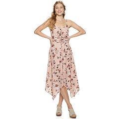 bc73f5e887 Juniors  Three Pink Hearts Cinch Front Floral Dress
