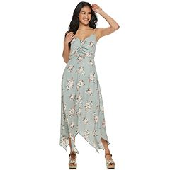 Juniors' Three Pink Hearts Cinch Front Floral Dress