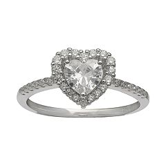 PRIMROSE Sterling Silver Cubic Zirconia Heart Halo Ring