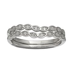 PRIMROSE Sterling Silver Cubic Zirconia Stacked Ring
