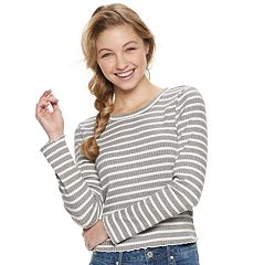 Juniors' American Rag Crochet-Trim Lace-Up Back Tee