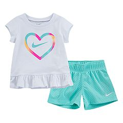 Baby Girl Nike Heart Logo Tee & Mesh Shorts Set
