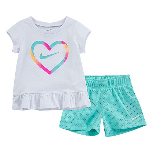 21a93a535e Baby Girl Nike Heart Logo Tee & Mesh Shorts Set