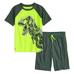 Boys 4-12 Jumping Beans® Pieced Dinosaur Raglan Top & Shorts Set