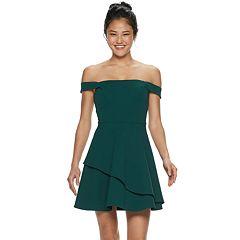 6ca6678371 Juniors  Speechless Off-the-Shoulder Asymmetrical Skater Dress
