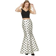 Juniors' Speechless V-Neck Top & Polka-Dot Mermaid Skirt Set