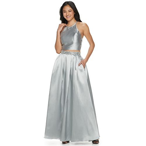 Juniors' Speechless Satin Halter Top & Jeweled Waist Skirt Set