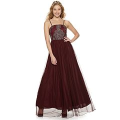 Juniors' Speechless Strapless Mesh Beaded Maxi Dress