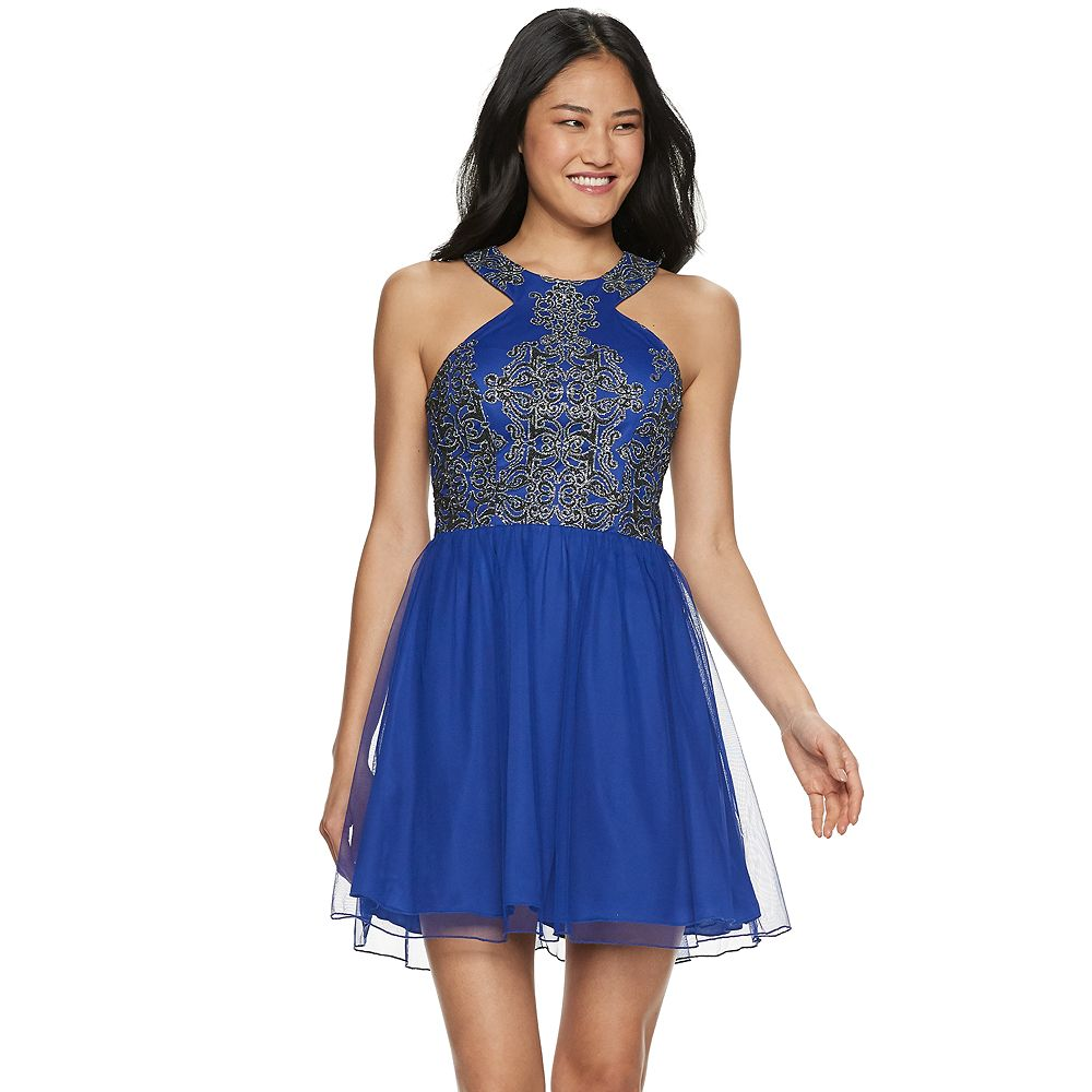 Juniors' Speechless Caviar Detail Mesh Skater Dress