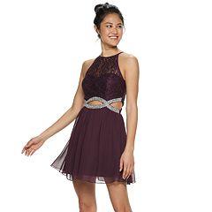 6989d6bc18f Juniors  Speechless Lace   Chiffon Jeweled Infinity Waist Skater Dress