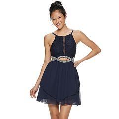 Juniors' Speechless Lace & Chiffon Jeweled Infinity Waist Skater Dress