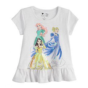 Disney Princess Toddler Girl Ariel, Cinderella & Belle Ruffled Graphic Tee by Jumping Beans®