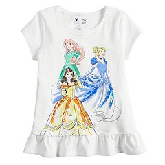 Disney Princess Girls 4-12 Ariel, Belle & Cinderella Ruffled Graphic Tee by Jumping Beans®