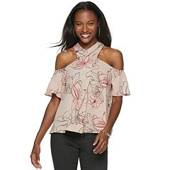 Women's Jennifer Lopez Cross-Front Cold Shoulder Top